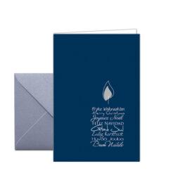 Weihnachtskarte Kerzentext Blau