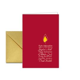 Weihnachtskarte Kerzentext Rot